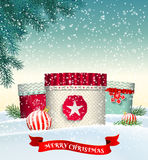 Christmas background with colorful gift boxes in. Christmas background with three colorful gift boxes in winter landscape, vector illustration, eps 10 with Stock Photo