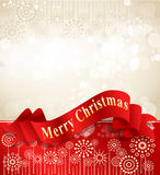 Christmas background with complimentary red ribbon Royalty Free Stock Photography