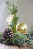 Christmas background with cone, branch of the Christmas tree, ball and bottle Royalty Free Stock Image