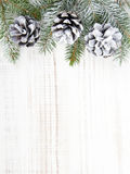 Christmas background with cones and fir branches on wooden background. Christmas background with cones and fir branches on white wooden background. Copy space Stock Images