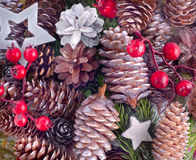 Christmas background with cones Stock Photography
