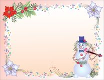 Christmas Background with Confetti and Snowman Stock Images