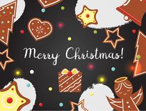 Christmas background with cookies on black board. Top view. Vector illustration vector illustration