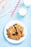 Christmas background. Cookies and candycane on a table, christmas background Stock Image