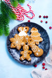 Christmas background. Cookies and candycane on a table, christmas background Stock Photo