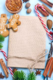 Christmas background. Cookies and candycane on a table, christmas background Royalty Free Stock Photography