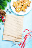 Christmas background. Cookies and candycane on a table, christmas background Royalty Free Stock Image