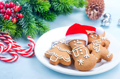 Christmas background. Cookies and candycane on a table, christmas background Stock Photos