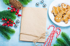 Christmas background. Cookies and candycane on a table, christmas background Royalty Free Stock Photo