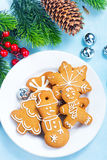 Christmas background. Cookies and candycane on a table, christmas background Stock Photography