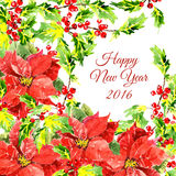 Christmas background with cool red flowers and royalty free illustration