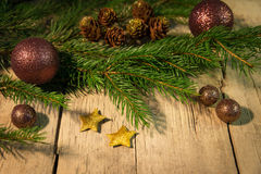 Christmas background with copper balls Royalty Free Stock Images