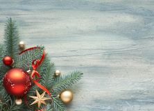 Christmas background: corner decorated with fir twigs and Christ stock photos
