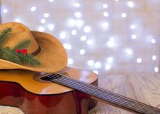 Christmas background.Country music with acoustic guitar and amer stock photo