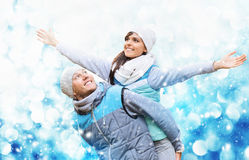 Christmas background with couple in love. In snow Stock Photography