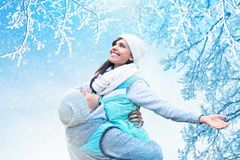 Christmas background with couple in love. In snow Royalty Free Stock Images