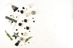 Christmas background. creative abstract composition of xmas decorations Royalty Free Stock Image