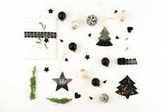 Christmas background. creative abstract composition of xmas decorations Royalty Free Stock Photography
