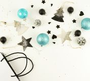 Christmas background. creative abstract composition of xmas decorations Stock Photography