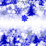Christmas background. With crystal snowflakes and Christmas tree. Blue texture Vector Illustration