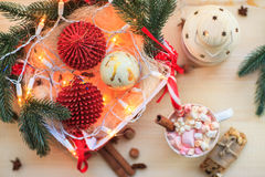 Christmas background with cup of chocolate, marshmallow and fest Royalty Free Stock Images