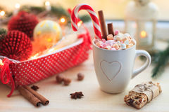 Christmas background with cup of chocolate, marshmallow and fest Royalty Free Stock Photography