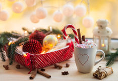 Christmas background with cup of chocolate, marshmallow and fest Stock Image