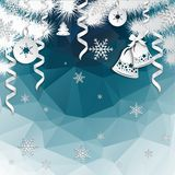 Christmas background with cut paper decorations Royalty Free Stock Images