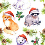 Christmas background - cute animals in red santa`s hats, pine branches. Repeating pattern. Watercolor Royalty Free Stock Photos