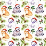 Christmas background - cute animals in red santa`s hats, pine branches. Repeating pattern. Watercolor Royalty Free Stock Photography