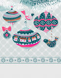 Christmas background with cute decorations Royalty Free Stock Images