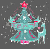 Christmas background with cute decorations and Christmas tree Royalty Free Stock Photography