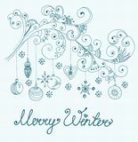 Christmas background with cute decorations and floral elements Royalty Free Stock Photo