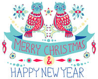 Christmas background with cute decorations and funny Owls Royalty Free Stock Photo