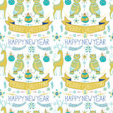 Christmas background with cute decorations and funny Owls, Seaml Stock Photos
