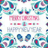 Christmas background with cute floral ornament and hand drawing Royalty Free Stock Images