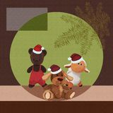 Christmas background with cute plush toys against Christmas tree.  Stock Photography