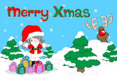 Christmas background. Background with cute Santa and gifts for Christmas season Stock Photo