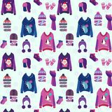 Christmas background with cute ugly sweaters Stock Illustration
