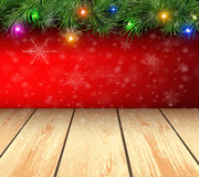 Christmas background 3D. Christmas background with fir branches, balls and 3d wooden boards. Vector illustration Stock Photos