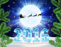 2016 christmas background. 3d numbers 2016 christmas background. Reindeer and Santa Claus on moon background. Vector silhouettes for cards, advertising banners Royalty Free Stock Photo