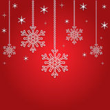Christmas background with 3d snowflakes and stars. Red Christmas background with hanging 3d snowflakes and stars.Decorative Christmas background. Vector Stock Photo