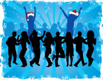 Christmas background with dancing silhouettes, vector Royalty Free Stock Images