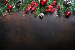 Christmas background on dark table. royalty free stock images