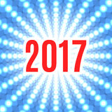 Christmas background with the date 2017. White flash of light on a blue background Royalty Free Stock Photo