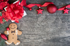 Christmas background decorate with gingerbread man cookie on vin Royalty Free Stock Photo