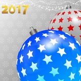 Christmas background with decorated baubles and snowflakes. 3D Illustration of Christmas Decorated Baubles White and Blue with Stars Over White and Gray Stock Photography