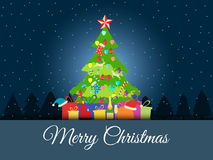 Christmas background with decorated Christmas tree, presents and Christmas symbols. Vector. Illustrations Royalty Free Stock Photos