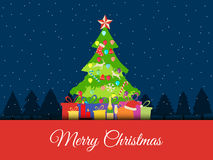 Christmas background with decorated Christmas tree, presents and Christmas symbols. Vector. Illustrations Royalty Free Stock Photo