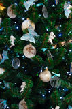 Christmas background of decorated fir Stock Photo
